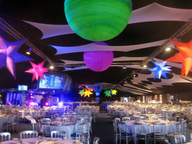 Space theme uv decor for events for Space themed material